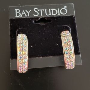 🔥3/$20 Iridescent Crystal Hoop Earings Bay Studio